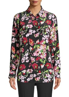 Equipment Signature Floral-Print Silk Blouse