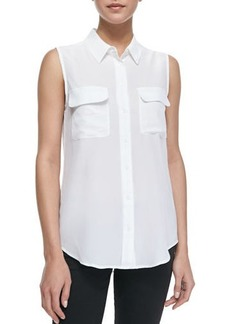 Equipment Slim Signature Sleeveless Blouse  Bright White
