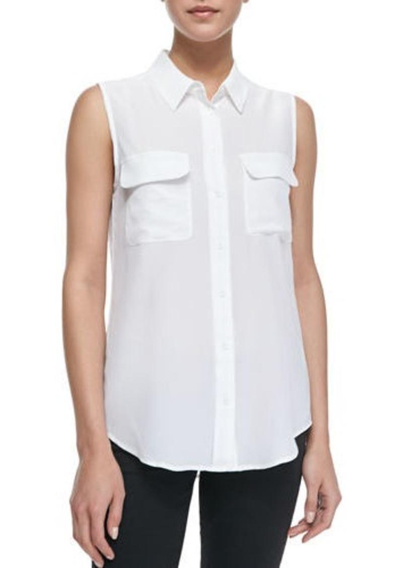 Equipment Slim Signature Sleeveless Blouse  Bright White