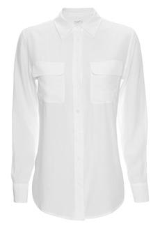 Equipment Slim Signature White Double Flap Pocket Blouse