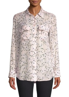 Equipment Slim Soirée Floral Silk Blouse