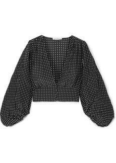 Equipment Sola Cropped Polka-dot Silk Crepe De Chine Top