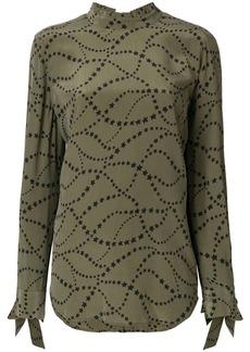 Equipment star print tie sleeve blouse