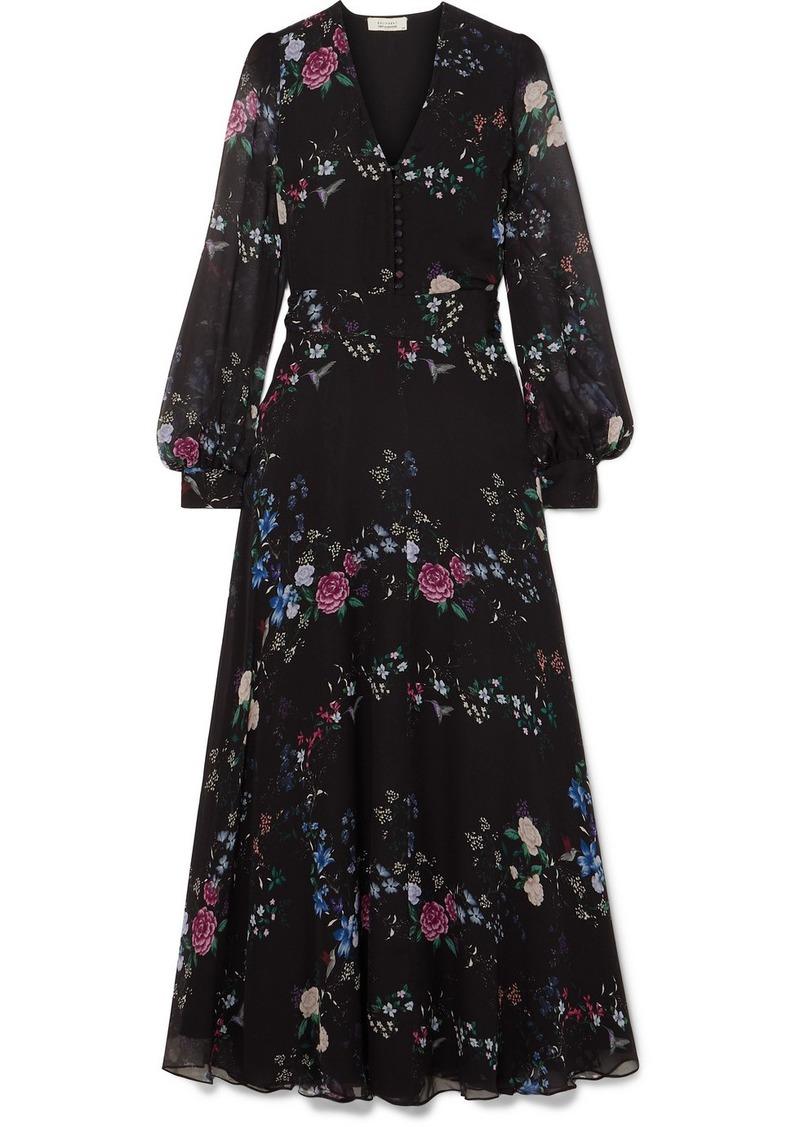 Equipment Tabitha Simmons Clemense Ruffled Floral-print Silk-chiffon Maxi Dress