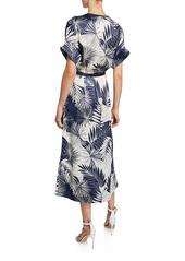 Equipment Tavine Leaf-Print Short-Sleeve Midi Wrap Dress
