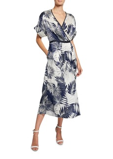 Equipment Tavine Leaf-Print Short-Sleeve Midi Wrap Dress