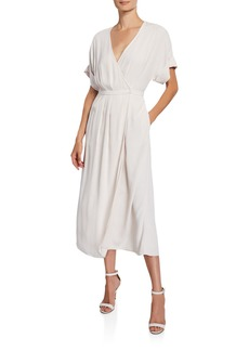 Equipment Tavine Short-Sleeve Midi Wrap Dress