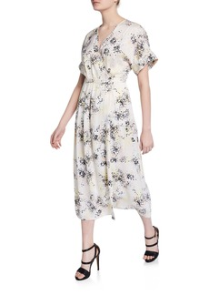 Equipment Tavine Speckled Short-Sleeve Midi Dress