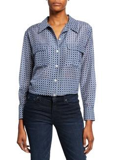 Equipment Videlle Button-Front Long-Sleeve Cotton/Silk Shirt
