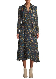 Equipment Vivienne V-Neck Long-Sleeve Floral-Printed A-line Dress