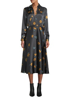 Equipment Vivienne V-Neck Long-Sleeve Floral-Printed Silk Dress