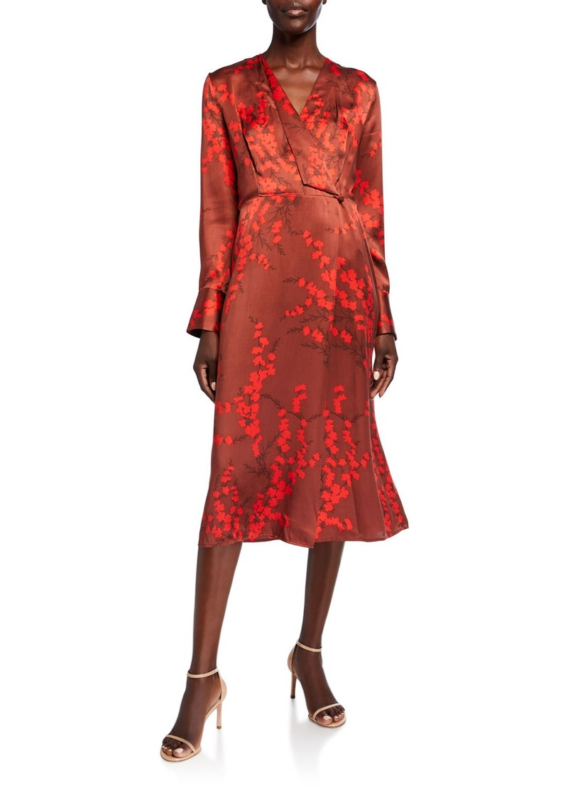 Equipment Willowe Floral Long-Sleeve Silk Midi Wrap Dress