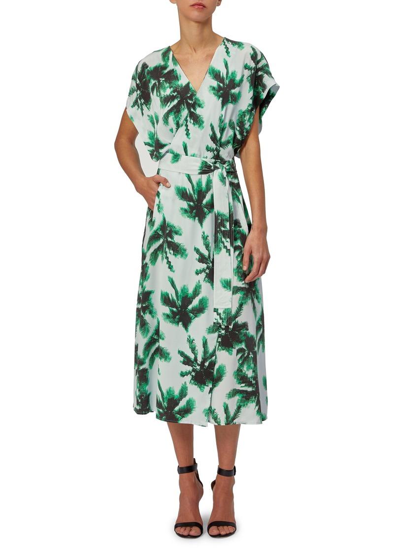 Equipment Bijou Palm Print Silk Midi Dress