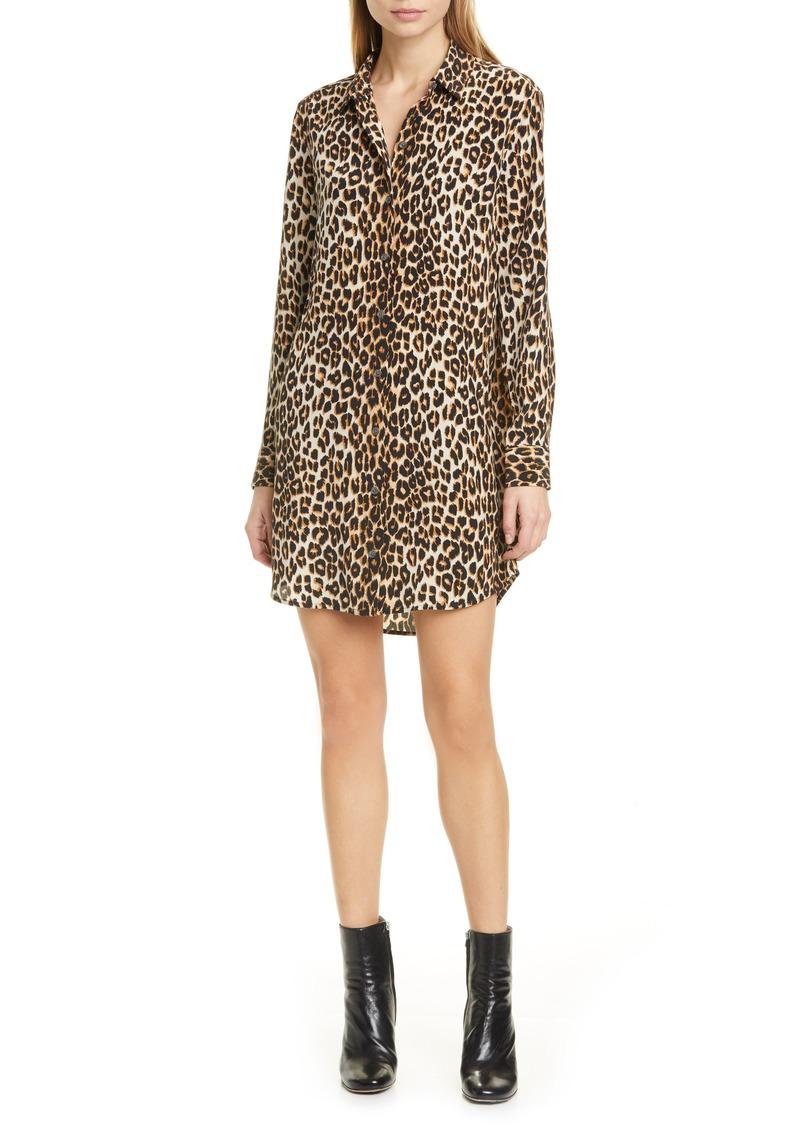 Women's Equipment Essential Long Sleeve Leopard Print Silk Shirtdress