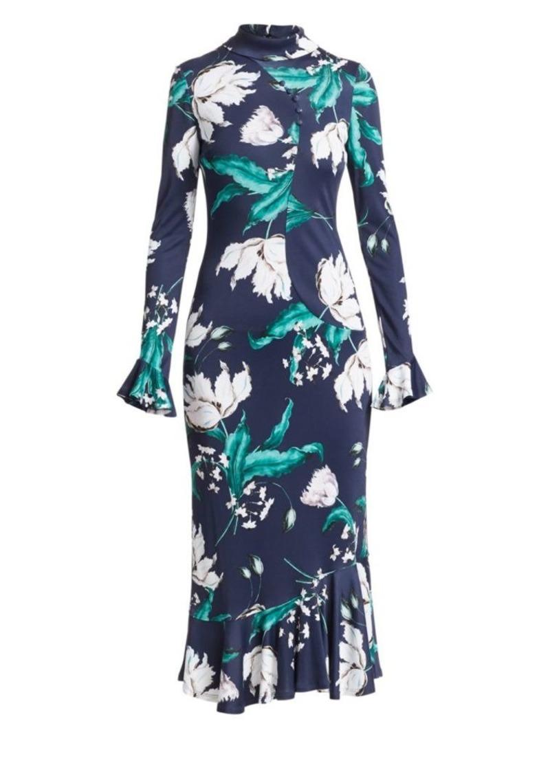 Erdem Alta Floral Bell Sleeve Midi Dress