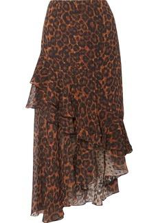 Erdem Antoinette Asymmetric Leopard-print Fil Coupé Silk-chiffon Skirt