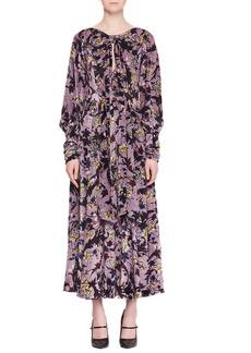 Erdem Carwen Knot Keyhole-Front Full-Sleeve Velvet Voile Jacquard Evening Dress