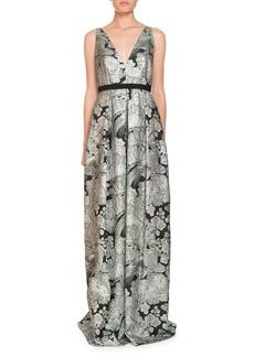 Erdem Ceren V-Neck Sleeveless Blossom Bird Jacquard Evening Gown