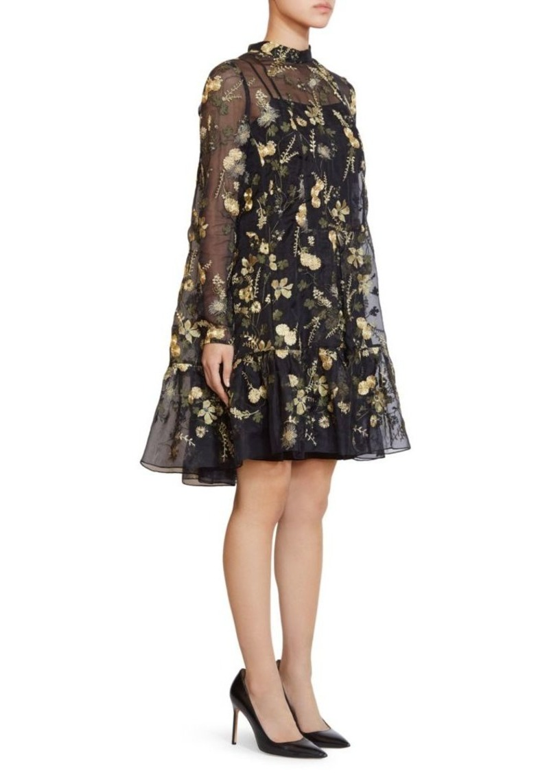 Erdem Cosima Embroidery Organza Dress
