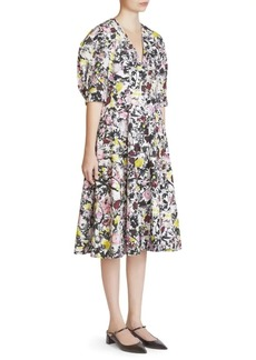 Erdem Cressida Floral Puff-Sleeve A-Line Dress