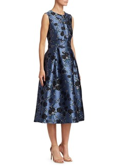Erdem Davinia Embroidered Floral Fit-And-Flare Dress