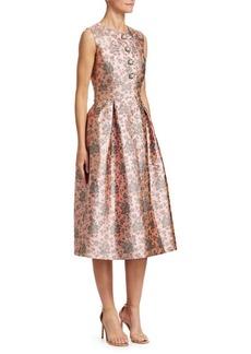 Erdem Davinia Metallic Floral Fit-And-Flare Dress