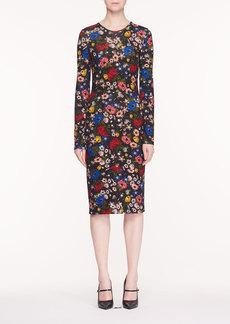 Erdem Eileen Jewel-Neck Long-Sleeve Lismore Garden-Print Ponte Jersey Sheath Dress