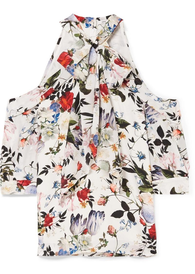 Erdem Elin Cold-shoulder Floral-print Silk Crepe De Chine Top