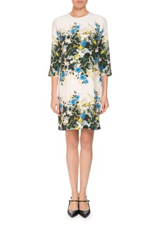Erdem Emma 3/4-Sleeve Mariko Meadow Floral Shift Dress