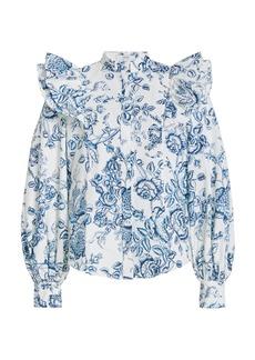 Erdem - Women's Caterina Ruffled Cotton Button-Down Shirt - Floral - Moda Operandi