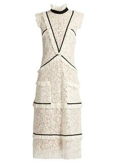 Erdem Abigail contrast-trimmed lace midi dress
