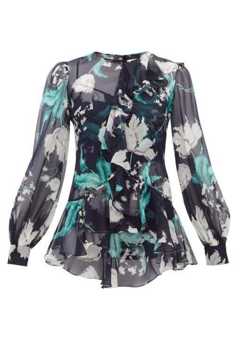 Erdem Alexia Leighton tulip-print silk blouse
