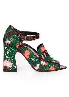 Erdem Amaris carnation-print satin pumps