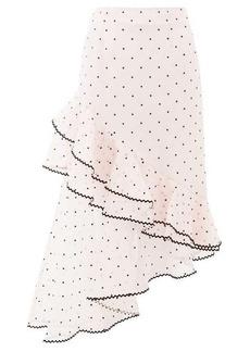 Erdem Antoinette polka-dot ruffled silk-blend skirt