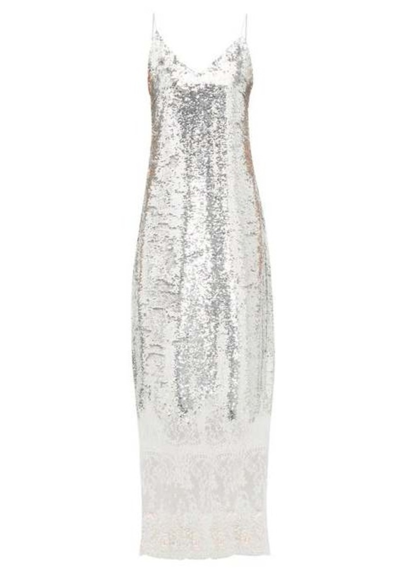 Erdem Arden lace-trim sequinned slip dress