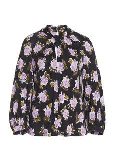 Erdem Arlette Twisted Floral Crepe Top