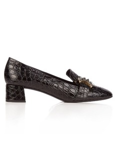 Erdem Berry crocodile-effect leather loafers
