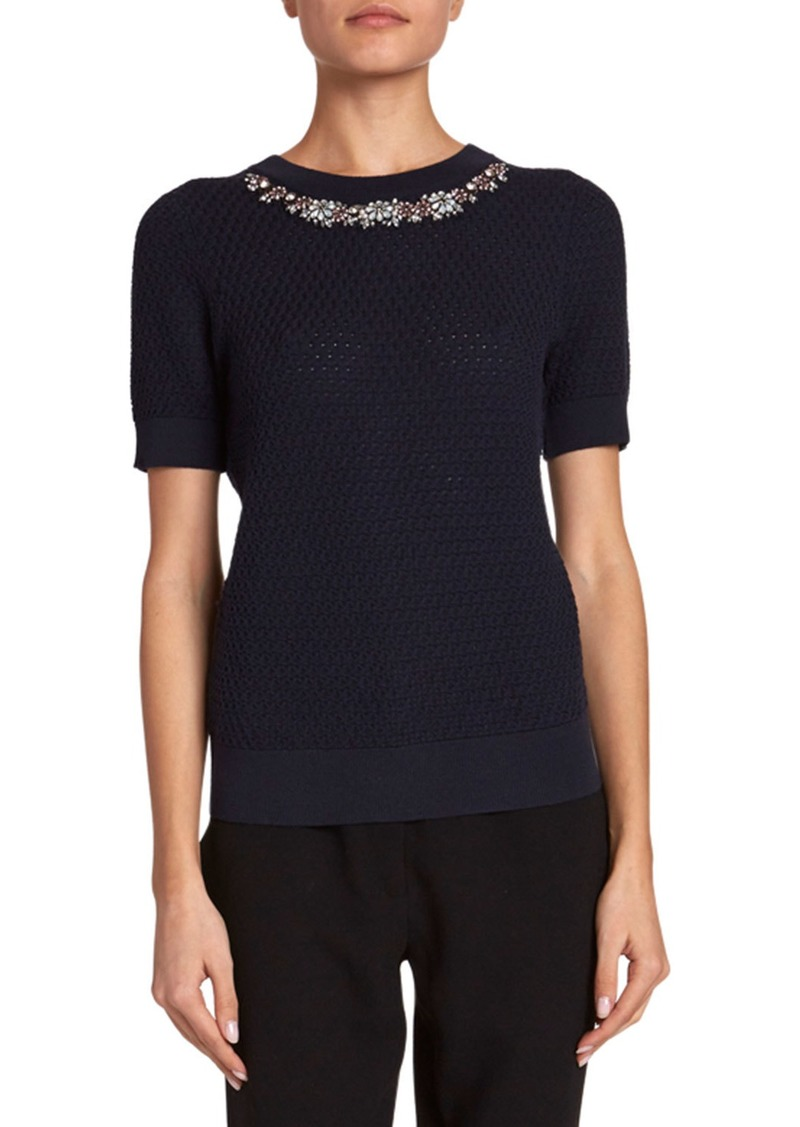 Erdem Bettie Knit Top w/ Embellished Trim