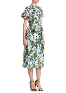 Erdem Carlita Short Sleeve Midi Shirt Dress