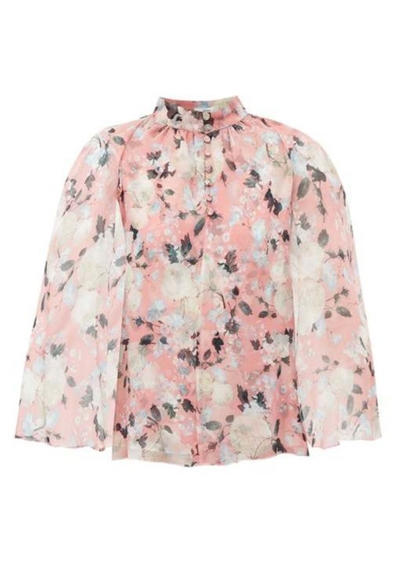 Erdem Carvella cape-sleeve floral-print silk blouse
