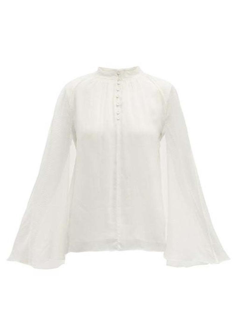 Erdem Carvella dotted silk-jacquard cape blouse