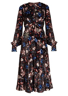 Erdem Carwen Tulip Meadow-print velvet dress