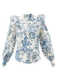 Erdem Caterina Toile de Jouy-print ruffled blouse