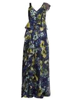 Erdem Cece Hasu Night-print V-neck silk gown
