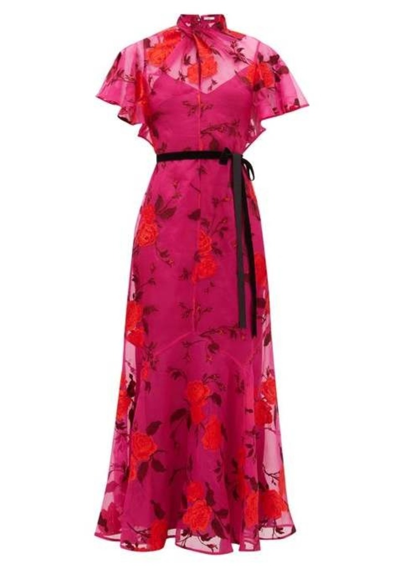 Erdem Celestina rose-embroidered silk-organza gown