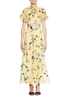 Erdem Celestina Short-Sleeve Floral-Embroidered Long Dress with Twist Detail & Belt