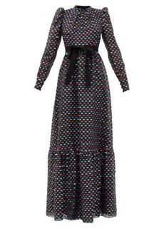 Erdem Claudina puffed-sleeve fil-coupé gown