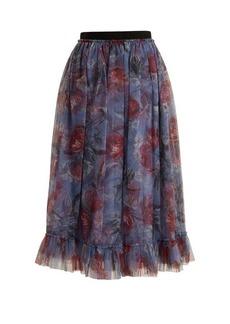 Erdem Clio Ellington peony-print tulle skirt