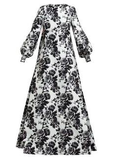 Erdem Clover Rosechine-jacquard cotton-blend gown