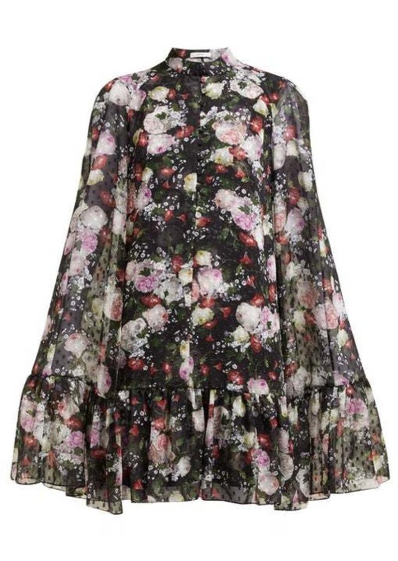 Erdem Constantine floral-print voile cape dress